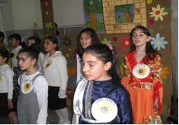 Children with disabilities in musical and art classes.